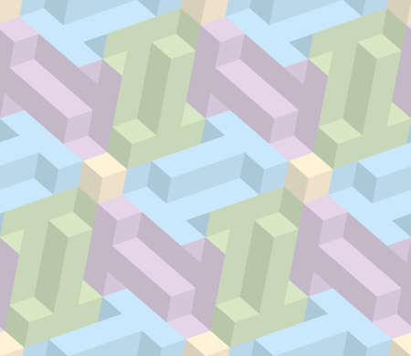 pastel shades: Isometric Seamless Pattern in pastel shades. 3D Optical Illusion Background Texture. Editable Vector EPS10 Illustration.