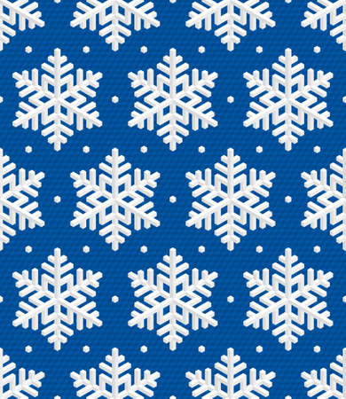 escher: Traditional Christmas Seamless Pattern with White Isometric 3D Snowflakes on deep blue background. Editable Vector EPS10 Illustration for New Year Decoration. Illustration