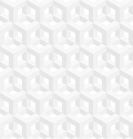 escher: Neutral Isometric Seamless Pattern. 3D Optical Illusion White Background Texture. Editable Vector EPS10 Illustration.