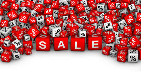 big boxes: Big Sales or special offers 3D illustration. A heap of cubes with SALE word and percent symbol.