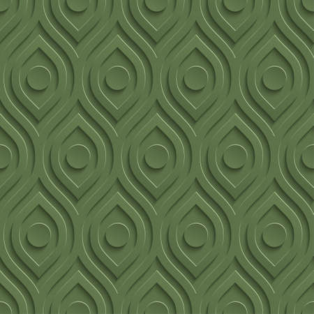 perforated: 3D Seamless Pattern in Kale Color. Neutral Tileable Vector Background for Material Design.