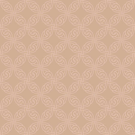 scrollwork: Neutral Seamless Linear Pattern. Tileable Geometric Outline Ornate. Celtic Knotwork Vector Background.