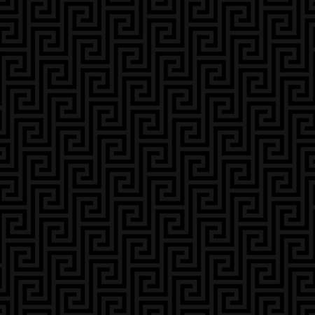 carbon neutral: Black Classic meander seamless pattern. Greek key neutral tileable linear vector background.