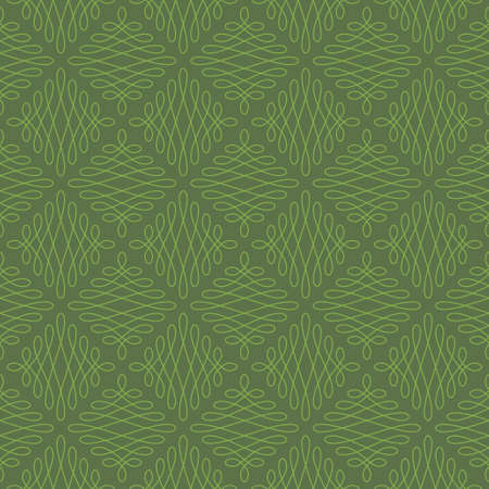 vintage colors: Neutral Seamless Linear Pattern. Tileable Geometric Outline Ornate. Vintage Flourish Vector Background. Kale and greenery colors. Illustration
