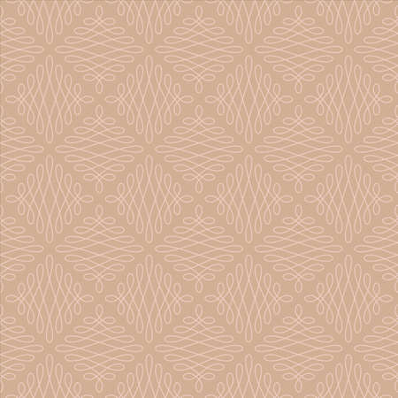 vintage colors: Neutral Seamless Linear Pattern. Tileable Geometric Outline Ornate. Vintage Flourish Vector Background. Hazelnut and Pale Dogwood colors. Illustration