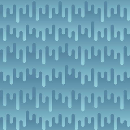 music: Waveform Irregular Rounded Lines Seamless Pattern. Blue tileable vector background in flat style. Illustration