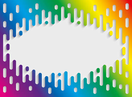 Colorful Halftone Transition Background with copyspace in Rainbow Colors. Vertical Multicolor Rounded Melting Lines Trendy Vector Template. Illustration