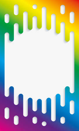 rainbow: Colorful Halftone Transition Background with copyspace in Rainbow Colors. Vertical Multicolor Rounded Melting Lines Trendy Vector Template. Illustration