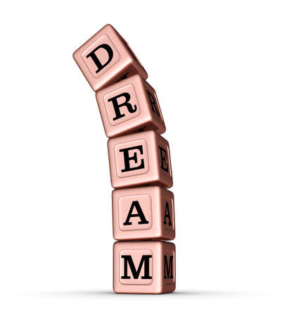 huge: Dream Word Sign. Falling Stack of Rose Gold Metallic Toy Blocks. 3D illustration isolated on white background. Stock Photo