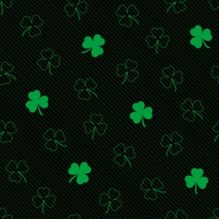 cloverleaf: St. Patricks Day seamless pattern. Tileable shamrock vector background.