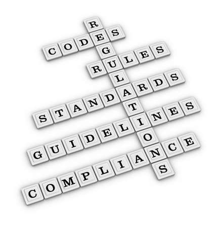 compliant: Compliance crossword puzzle isolated on white background. 3D illustration. Stock Photo
