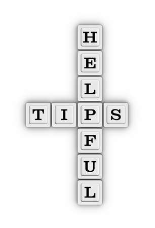 Helpful Tips Crossword Puzzle isolated on white background. Learn 3D illustration.