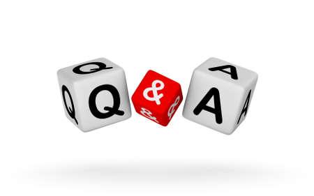 Q en een teken op een witte achtergrond. Vragen en Antwoorden 3D illustratie.