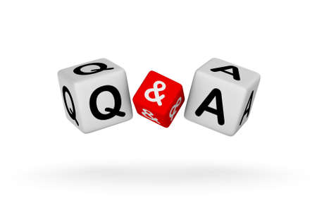 Q and A Sign isolated on white background. Questions and Answers 3D illustration.