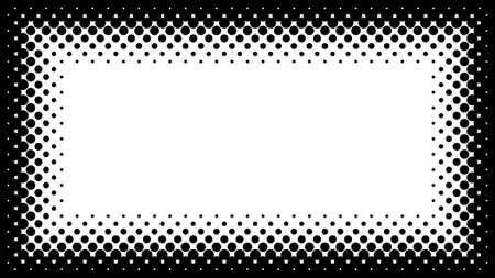 screen: Black and White Halftone Frame with Copyspace for Presentation on 16x9 Screen. Vector Design Element with Half Tone Fade Effect. Monochrome spotted background for banners or flayers.