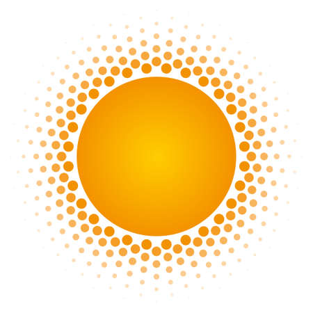 vector raster background: Orange Halftone circle frame vector design element on white background. Halftoned Dots Flash Light With Fade Effect of Halo. Optical Illusion of Half Tone Spirograph Flower.