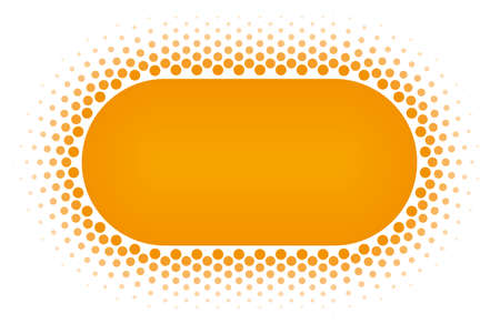 vector raster background: Orange Halftone rounded rectangle frame vector design element on white background. Halftoned Dots Flyer With Fade Effect. Half Tone Button with copy space.