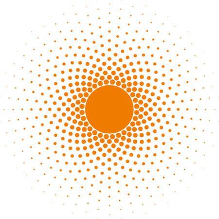 Orange Halftone circle frame vector design element on white background. Halftoned Dots Flash Light With Fade Effect of Halo. Optical Illusion of Half Tone Spirograph Flower.