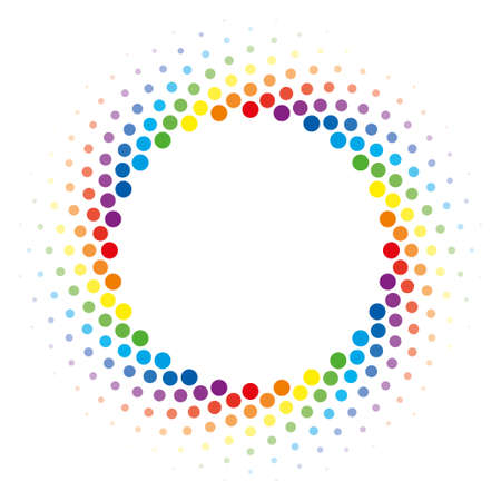 Colorful Halftone circle frame vector design element on white background. Halftoned Dots Flash Light With Fade Effect of Halo. Optical Illusion of Half Tone Swirl Rainbow Wheel