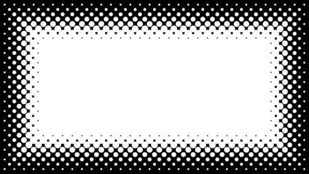 Black and White Halftone Frame with Copyspace for Presentation on 16x9 Screen. Vector Design Element with Half Tone Fade Effect. Monochrome spotted background for banners or flayers.