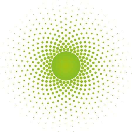 vector raster background: Greenery Halftone circle frame vector design element on white background. Halftoned Dots Flash Light With Fade Effect of Halo. Optical Illusion of Half Tone Spirograph Flower.