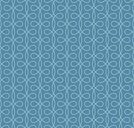 Seamless Thin Swirls Pattern. Blue Wallpaper Outline Ornate. Vintage Flourish Vector Background for Retro Design.