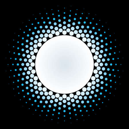 White Halftone circle frame vector design element on black background. Halftoned Dots Flash Light With Fade Effect of Halo. Optical Illusion of Half Tone Spirograph Flower.