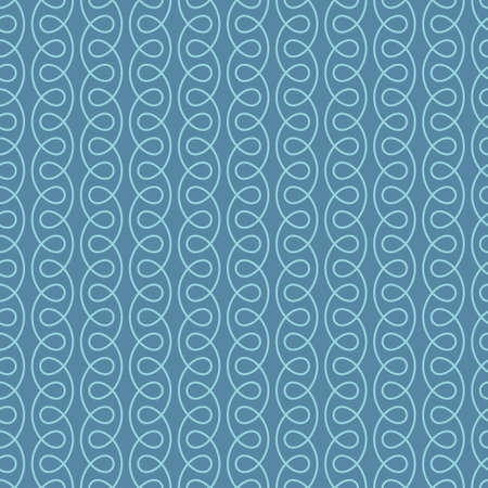 decoration: Seamless Thin Swirls Pattern. Blue Wallpaper Outline Ornate. Vintage Flourish Vector Background for Retro Design.