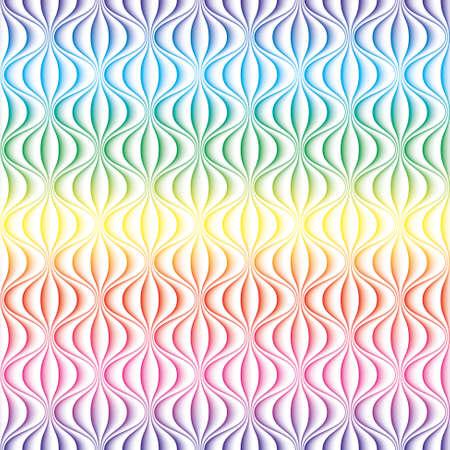 화려한 3D 물결 선 원활한 배경입니다. 귀하의 디자인에 대 한 여러 가지 빛깔의 원활한 벡터 패턴입니다.