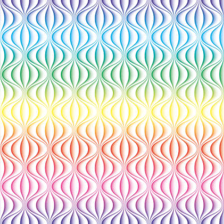 Colorful 3D Wavy lines seamless background. Multicolor seamless vector pattern for your design. Illusztráció