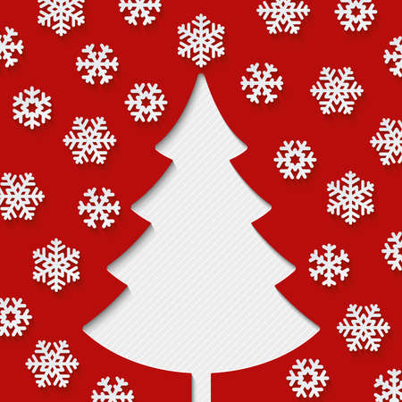 Christmas tree and snowflakes on red background. Christmas greeting card. Vector EPS10.
