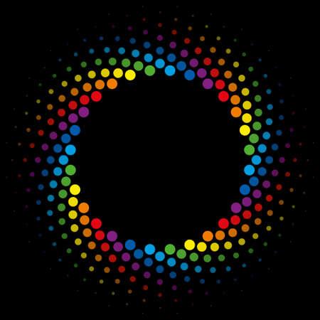 Optical Illusion of Half Tone Swirl Rainbow Wheel Vetores