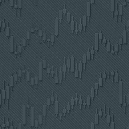 Japan candlestick financial charts seamless pattern. Vector tileable background for stockexchange design. Illustration