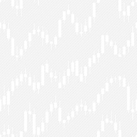 Japan candlestick financial charts seamless pattern. Vector tileable background for stockexchange design. Stock Illustratie