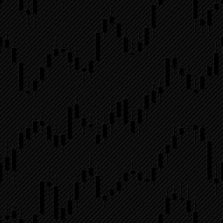 Japan candlestick financial charts. Vector tileable background for stockexchange design. Çizim