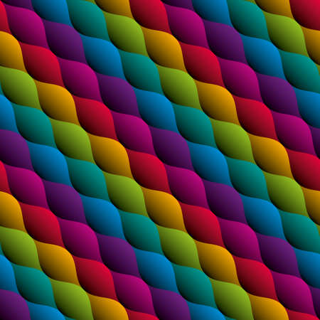 Wavy colorful seamless pattern. Multicolor tileable vector background. Vettoriali