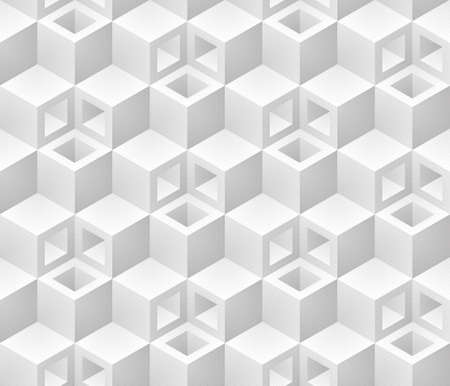 Neutral gray cubes isometric seamless pattern. Vector geometric tileable background. Çizim