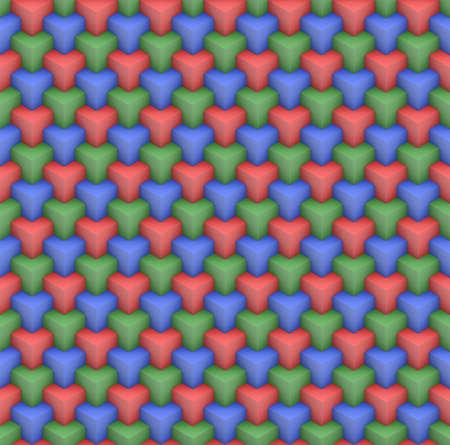 RGB screen. 3D isometric seamless pattern. Geometric tileable background. 免版税图像