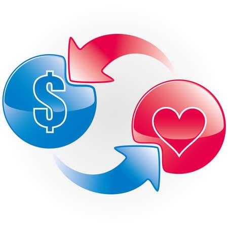 Social media Mi piace scambiare il concetto di icona. Simbolo di vettore del dollaro e del cuore.