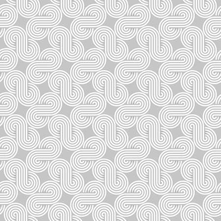 Twisted striped lines vector seamless pattern. Light gray neutral tileable background.