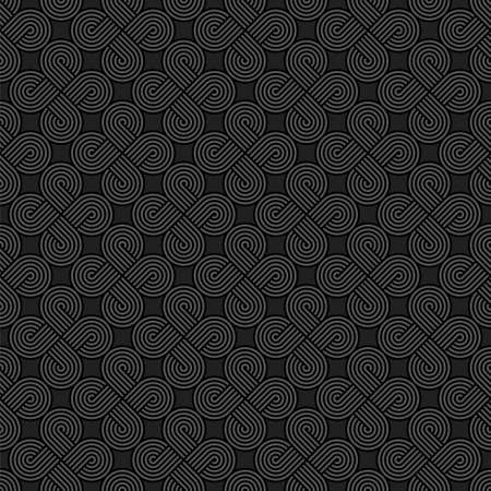 Twisted striped lines vector seamless pattern. Dark gray neutral tileable background.