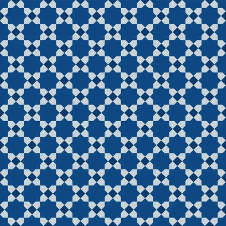 Classic Blue Ornate Seamless Vector Pattern of Moorish Tile Decorations. Tileable mosaic background in Islamic style.