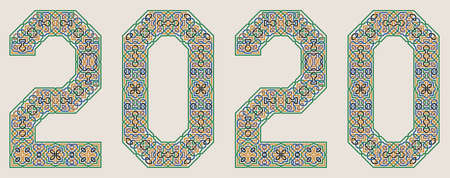 Colorful Vector 2020 year sign in Palace of Alhambra Style. Moorish geometric ornate.