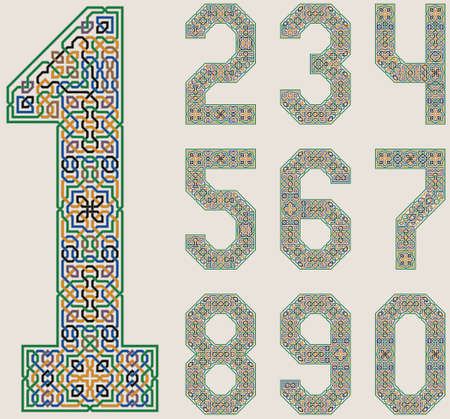 Colorful Vector Set of numbers in in Palace of Alhambra Style. Moorish geometric ornate. Ilustração