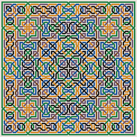 Colorful Ornate Vector Pattern of Moorish Tiled Decorations. Mosaic background in Palace of Alhambra Style.
