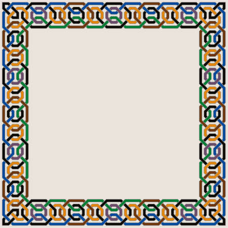 Colorful Ornate Vector Border of Moorish Tiled Decorations. Mosaic frame in Palace of Alhambra Style. Vectores