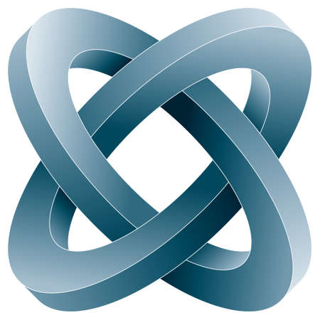 Impossible two circles icon. Vector optical illusion shape on white background.