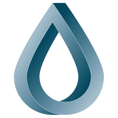 Impossible water drop icon. Vector optical illusion shape on white background.