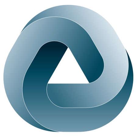 Impossible triangular icon. Vector optical illusion shape on white background.