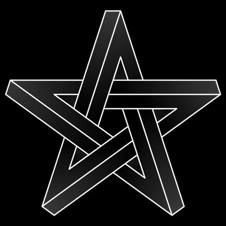 Impossible pentagram icon. White vector optical illusion shape on black background.